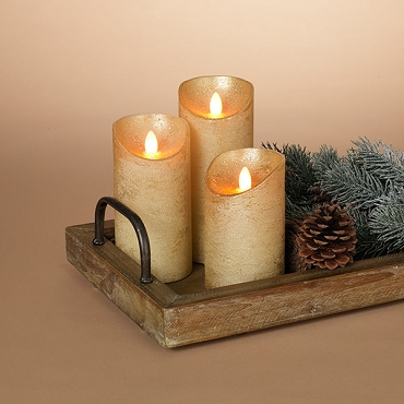 Set of 3 Gold Wax Candles